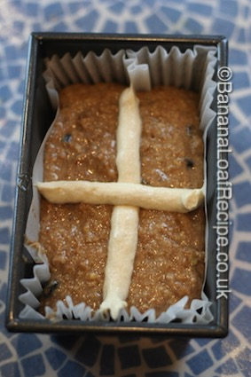 Hot Cross Easter Cake ready for the oven